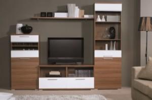 Коричневый шкаф-тумба под телевизор